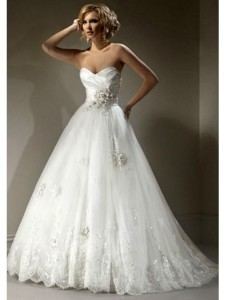 a-line_strapless_floor-length_sweep_trailing_organza_wedding_dresses