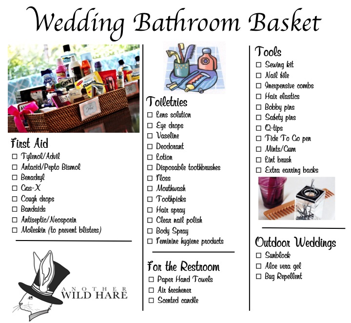 Wedding bathroom basket poem