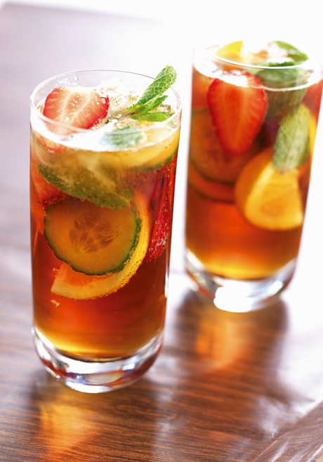 BJPG44 Two glasses of Pimm's cocktail with orange and mint. Image shot 2008. Exact date unknown.