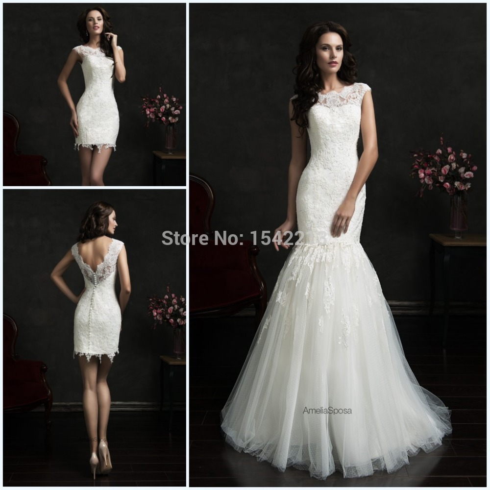 Hot-Sale-Two-In-One-Wedding-Dresses-Mermaid-Bridal-Gowns-High-Low-Short-Front-Long-Back