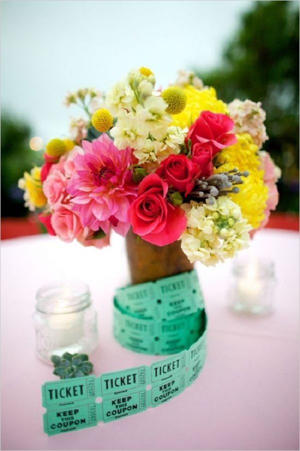 brightly-colored-florals-and-carnival-ticket-centerpiece