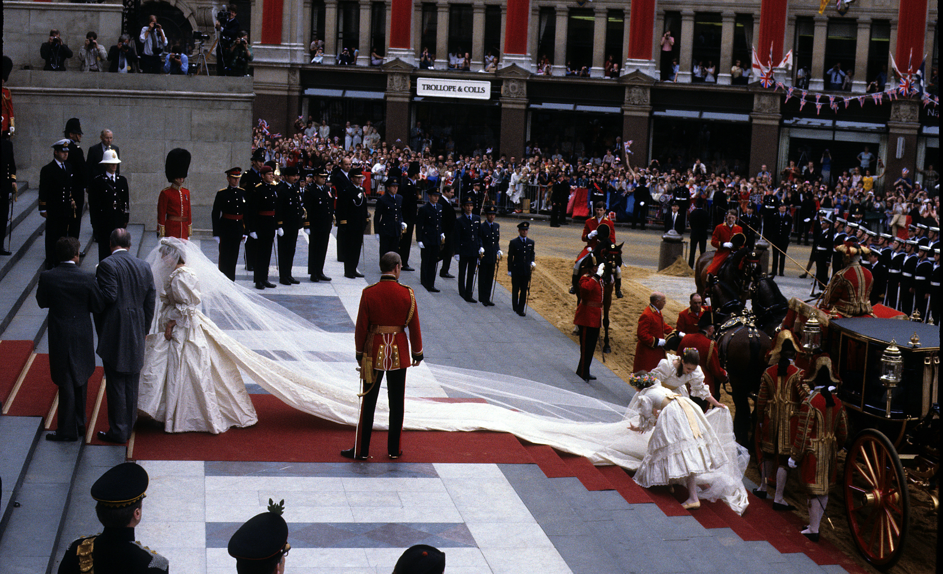 **File Photo** Diana, Princess of Wales, wearing an Emanuel wedding dress, enters St. Paul's Cathedral on the hand of her father, Earl Spencer, for her marriage to Charles, Prince of Wales on 29 July 1981. **Not for publication in France. Available for publication in the rest of the world** Featuring: **File Photo** When: 12 Apr 2010 Credit: WENN
