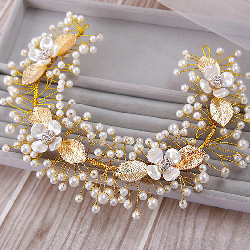 2015-Wedding-Accessories-Gold-Plated-Vintage-Metallic-Leaf-Multi-Tiny-Pearls-Beaded-Crystal-Flower-Bridal-Hairband